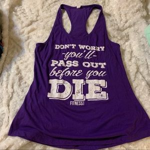 Purple graphic workout tank